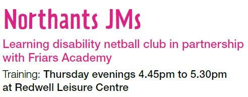JM's netball team meet each week in Wellingborough