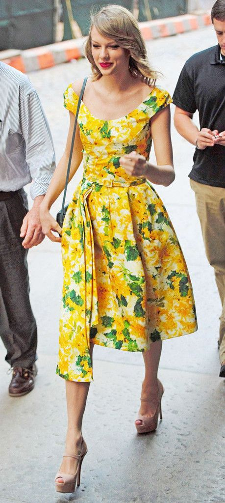 Summer Sunshine from Taylor Swift's Street Style  Even when she's just running errands, T-Swift never misses a beat. The singer rocks a vintage-inspired floral dress complimented by—what else?– bold red lips.