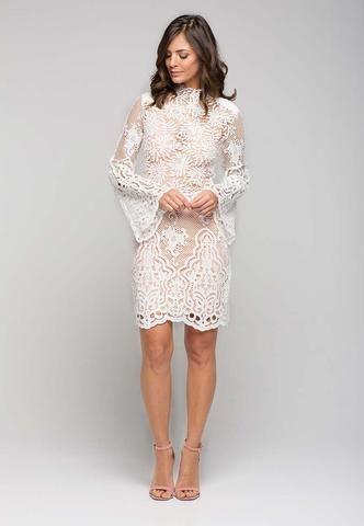 Ivory Mini Lace Shift Dress