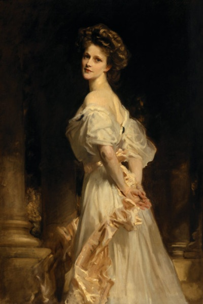 silentcuriosity:    John Singer Sargent. Lady Astor. 1909. Nancy Astor at Cliveden, Buckinghamshire.  John Singer Sargent 1856 – 1925 was the most successful portrait painter of his era. During his career, he created roughly 900 oil paintings and more than 2,000 watercolors, as well as countless sketches and charcoal drawings. His oeuvre documents worldwide travel, from Venice to the Tyrol, Corfu, the Middle East, Montana, Maine, and Florida.  SOURCE http://www.artgalleryabc.com/sargent/blog