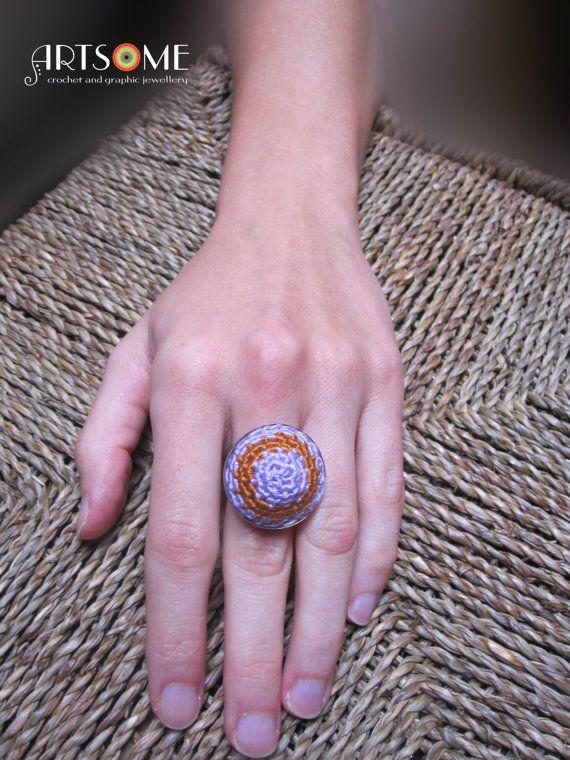 #Jewelry #Rings #StatementRings  #domeshape  #circle  #crochetedring  #decorativebigring  #lilacandgold  #boho #handmade  #unique  #artistic  #mandala  #crochetedjewelry  #adjustablering  #oneofakind