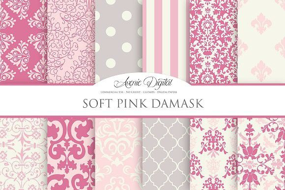 Soft Pink Damask Digital Paper. Patterns