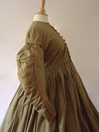 Gingham Silk Maternity Dress Pre Civil War Era, circa 1850s.