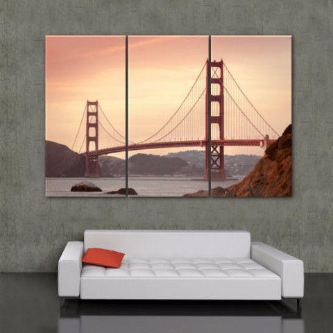 golden gate bridge canvas wall art shops studios and satin. Black Bedroom Furniture Sets. Home Design Ideas