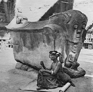 Antique and Classic Photographic Images. Sidabutar sarcophagus, 1920s. (Samosir/Sumatra, Dutch Indies), Photographer unknown.