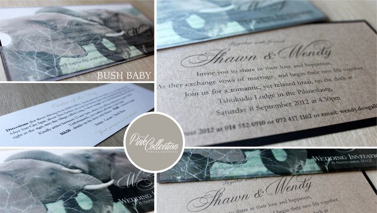 Bush Baby. A truly African wedding invitation with elephant print on recycled brown board.
