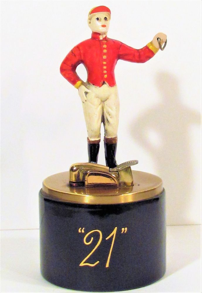 RAREST VINTAGE 21 CLUB N.Y.HORSE JOCKEY METAL&PORCELAIN EVANS TABLE TOP LIGHTER