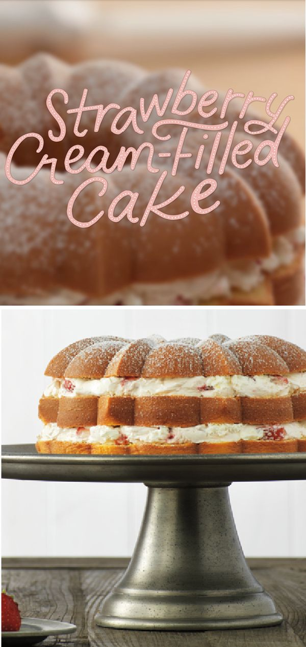Strawberry Cream-Filled Cake – This Strawberry Cream-Filled Cake recipe is layer upon layer of yum, and with only a few easy steps, it's the perfect dessert treat for any holiday get-together!