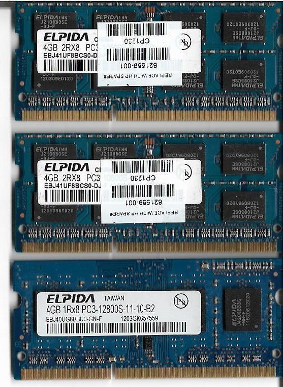 ELPIDA 4GB X 3 1RX8 PC3-12800S-11-10-B2 RAM LAPTOP MEMORY