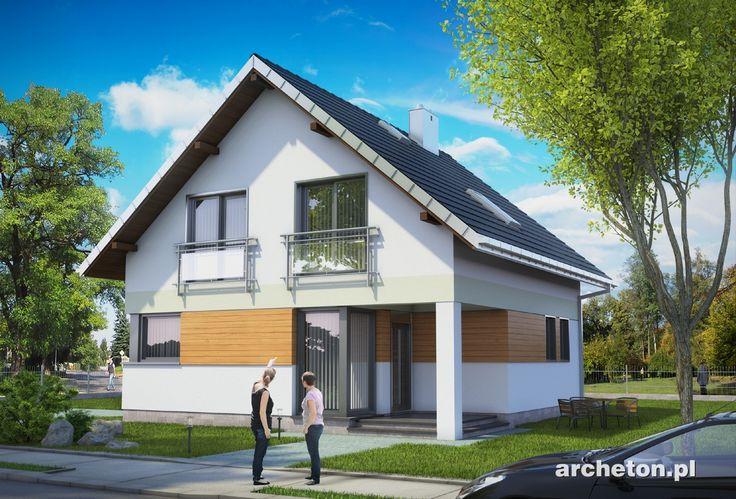 Projekt domu Katia To propozycja dla osób, które chcą wybudować mały, tani dom parterowy z użytkowym poddaszem, ale szukają kompromisu między ekonomią a atrakcyjnością formy.