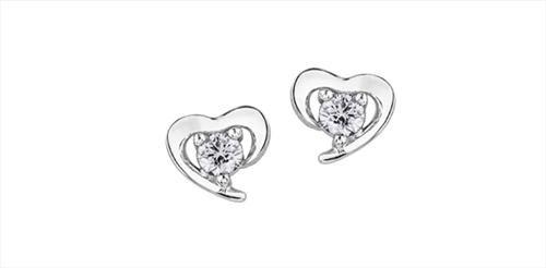 Maple Leaf Diamonds Heart Earrings