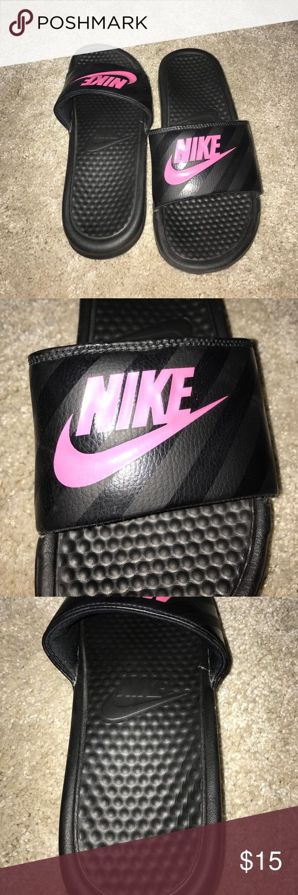 Nike slip on sandals, size 8 Nike slip on sandals, size 8, excellent condition, black with hot pink swoosh Nike Shoes Sandals
