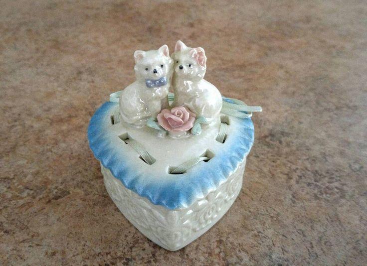 Iridescent Cat Trinket Box Vintage Heart Box Porcelain Kitten Jewelry Dish Ribbon Laced Heart 1960 Vanity Accessory Dresser Knick Knack by KarmaKollectibles on Etsy https://www.etsy.com/listing/541463847/iridescent-cat-trinket-box-vintage-heart