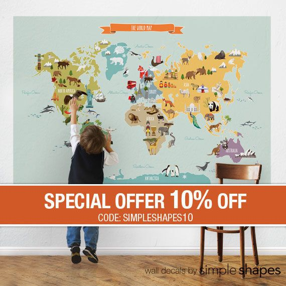 World Map  Peel and Stick Fabric Poster Sticker by SimpleShapes