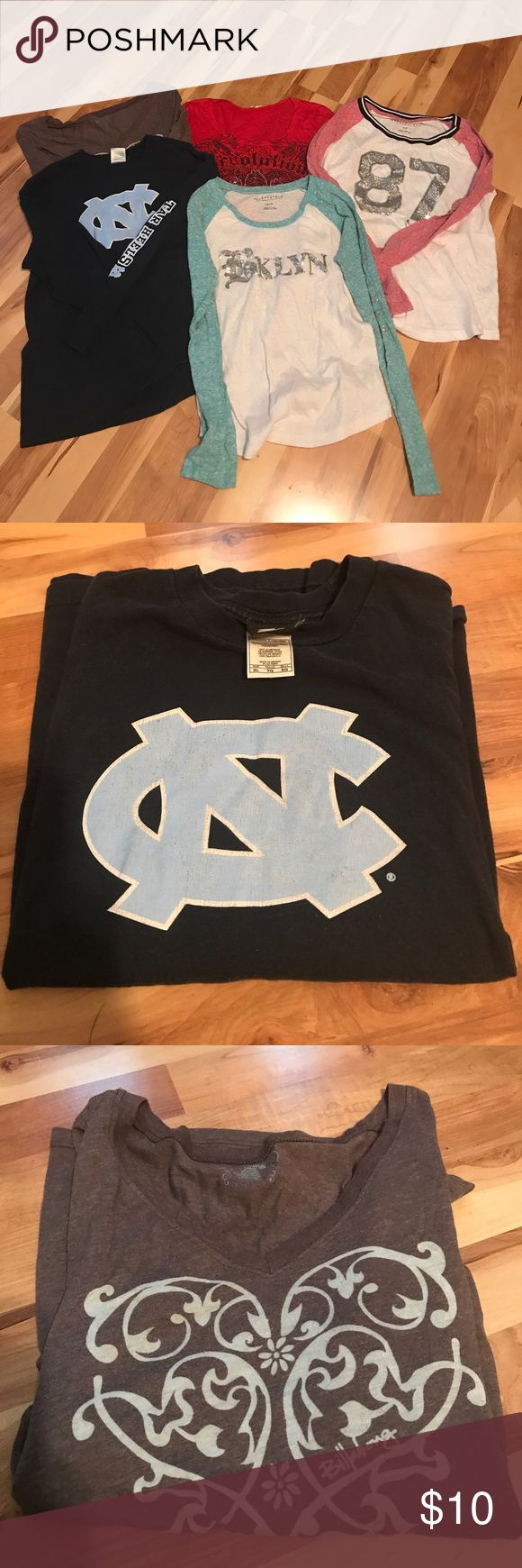 Lot of junior girls long sleeve shirts 2 Aeropostale size small long sleeve tops with glitter design 1 Revolution red long sleeve top with appliqué design 1 Billabong long sleeve top size L but runs small 1 long sleeve NC Tar Heels top size XL girls fits small junior Tops Tees - Long Sleeve