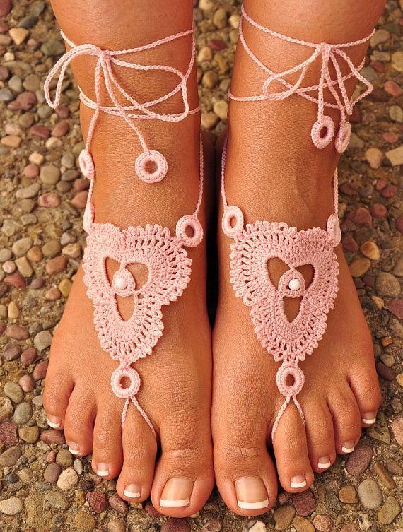Crochet Barefoot Sandals Great Accessory for by macramemarket, $11.49
