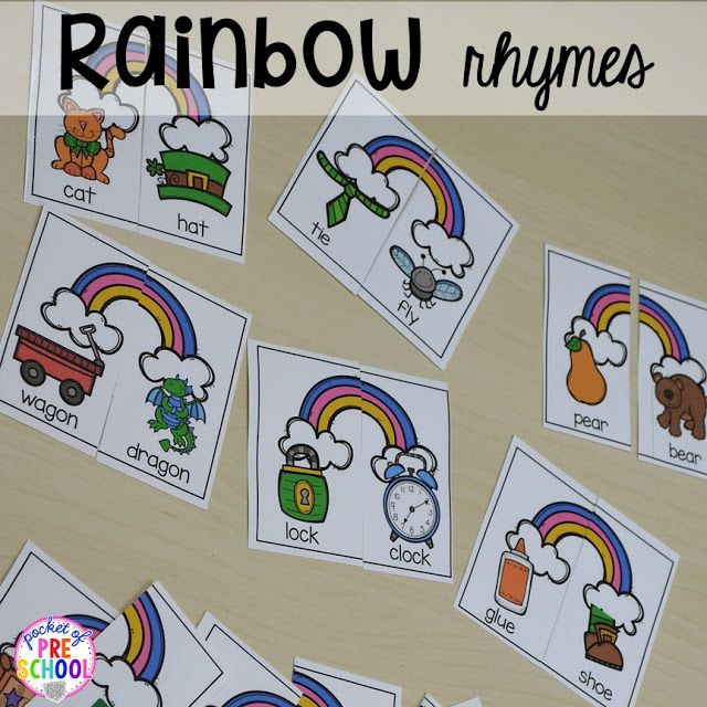St. Patrick's Day rhyming activity plus FREE ten frame shamrock cards for preschool, pre-k, and kindergarten. A fun way to practice rhyming words.