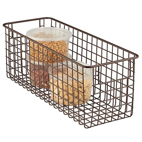 Mdesign Wire Storage Basket For Kitchen Pantry Cabinet Bronze