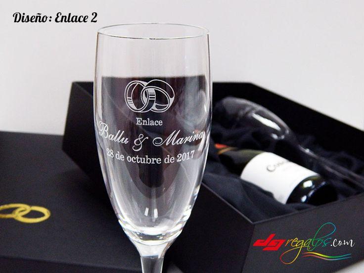 Copas personalizadas con botella de champagne