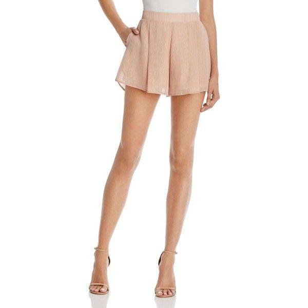 Show Me Your MuMu Vero Shorts ($115) ❤ liked on Polyvore featuring shorts, sparkle and shine mauve, shiny shorts, sparkly shorts, show me your mumu, metal shorts and pleated shorts