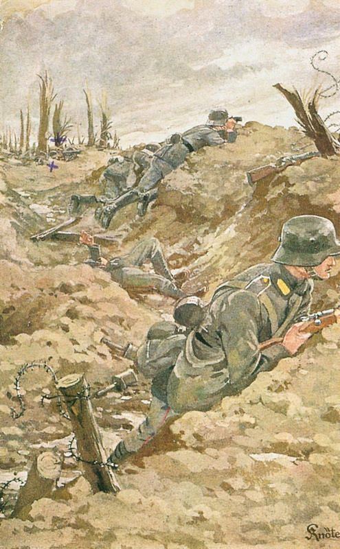 Carte Postale Postcard 1914-1918 Dessin de soldats Allemands dans les tranchées Drawing German soldiers in the trenches | Flickr - Photo Sharing!