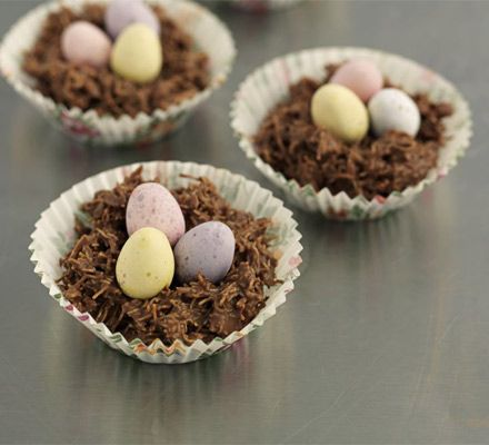 Shredded Wheat nests. A spin on traditional chocolate cornflake cakes, this version uses extra-fine strands of wheat for great texture.