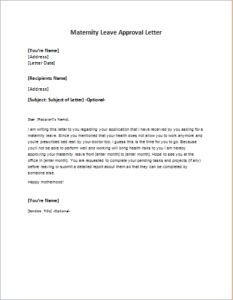 simple maternity leave letter