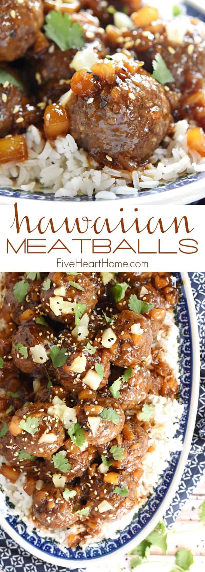 Hawaiian Meatballs ~ juicy homemade meatballs are smothered with a sweet and sti…