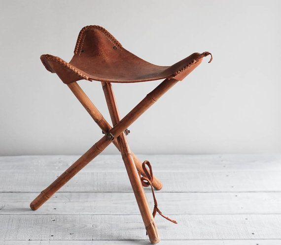 Vintage Folding Camp Stool / Three-Legged Cowboy by reclaimer
