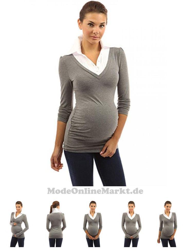 #PattyBoutik #Mama #2 #in #1 #Stil #Hemdkragen #Schwangerschafts #Hemd #mit #langen # #rmeln #grau #meliert #36 #S #6903775