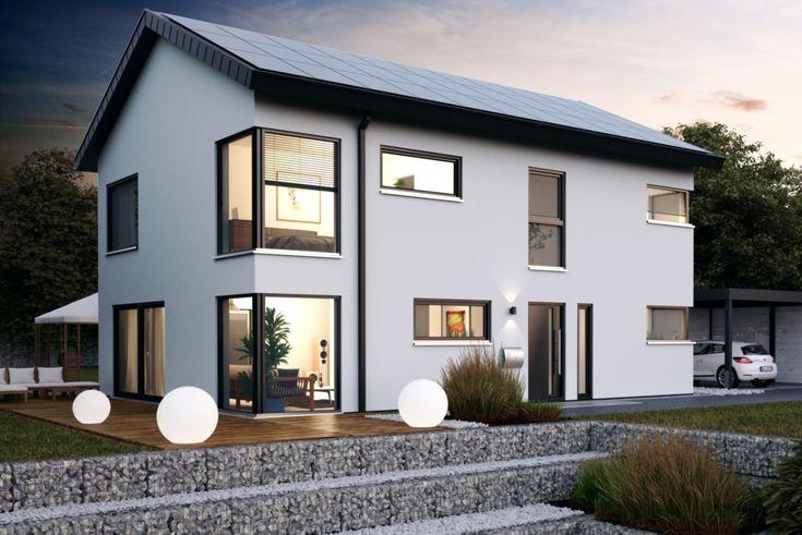 Haus Icon 4 XL - Dennert Massivhaus - http://www.hausbaudirekt.de/haus/haus-icon-4-xl/ - Massivhaus als Einfamilienhaus Modernes Haus Stadthaus mit Satteldach