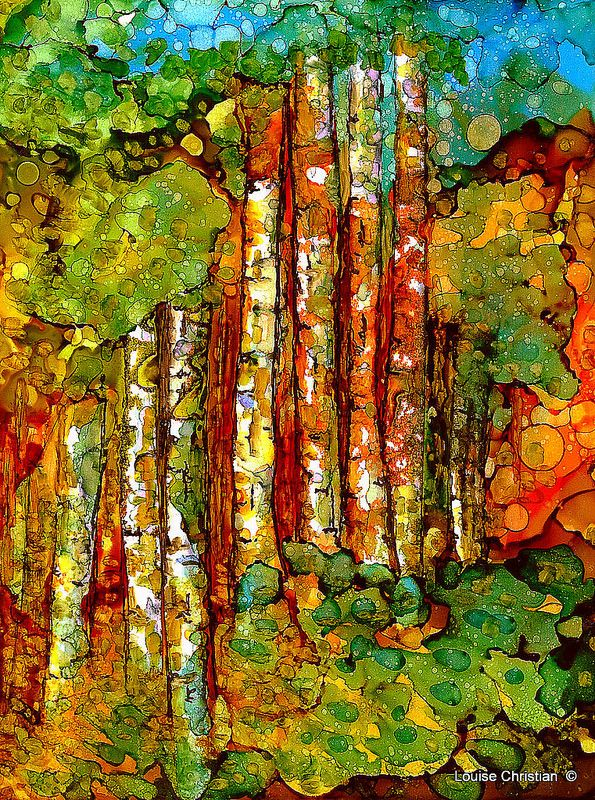 ''TREE GROVE'' PAINTING...ALCOHOL INK & VARIOUS INKS..''TREE GROVE'' on Yupo Paper