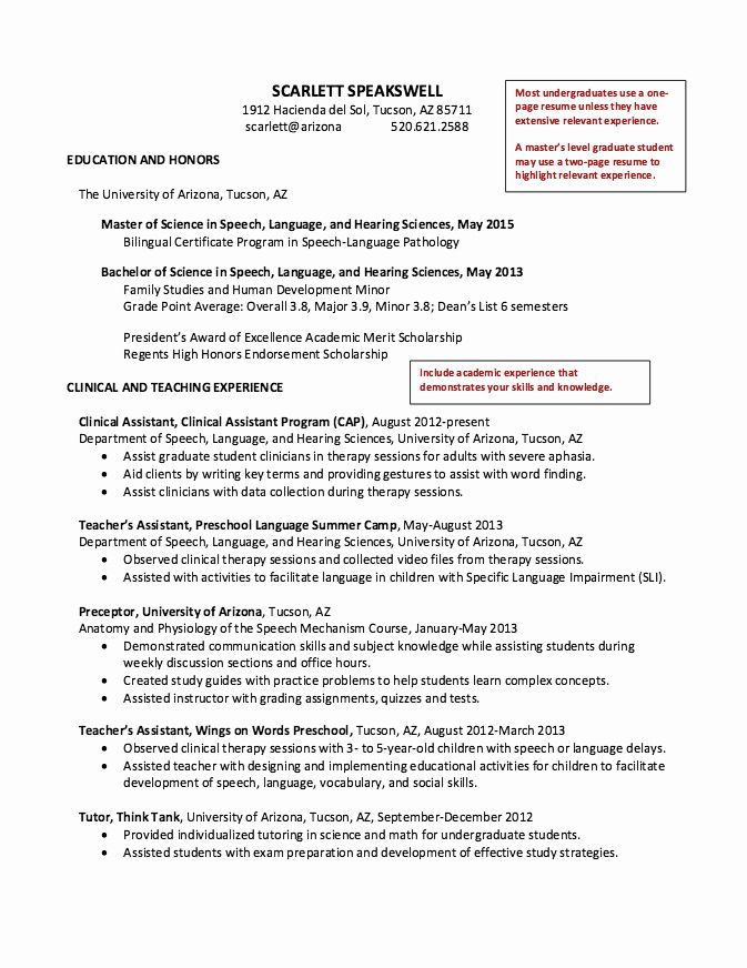 Speech Language Pathologist Resume Examples Luxury Speech Graduate Student Resume Student Resume Speech And Language Resume Examples