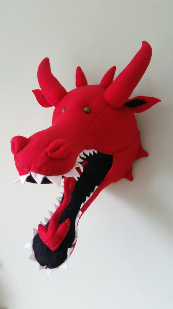 DYLAN DRAGON Faux Taxidermy Fabric Wall by GillsPopArtEmporium