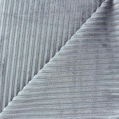 Tissu velours minkee à côtes Gris perle x 10cm - Ma Petite Mercerie