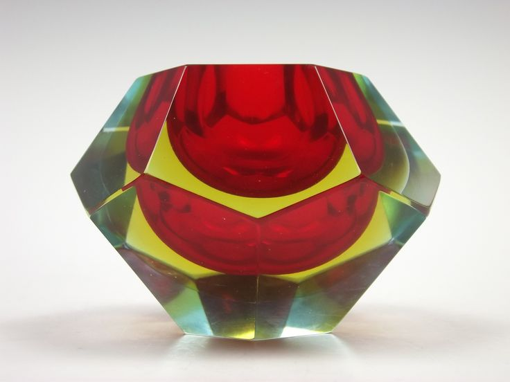 Murano sommerso red, yellow & blue faceted glass bowl