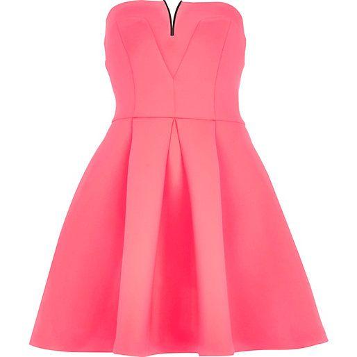Pink metal trim bandeau skater dress #riverisland