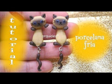 Siamese Kitty Cat polymer clay dangle earrings tutorial