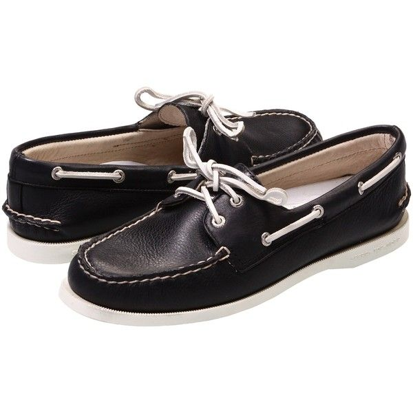 Sperry A/O 2 Eye (Black Supersoft) Women's Slip on  Shoes ($48) ❤ liked on Polyvore featuring shoes, black, sperry moccasins, grip shoes, moccasin shoes, leather moccasins and black slip-on shoes