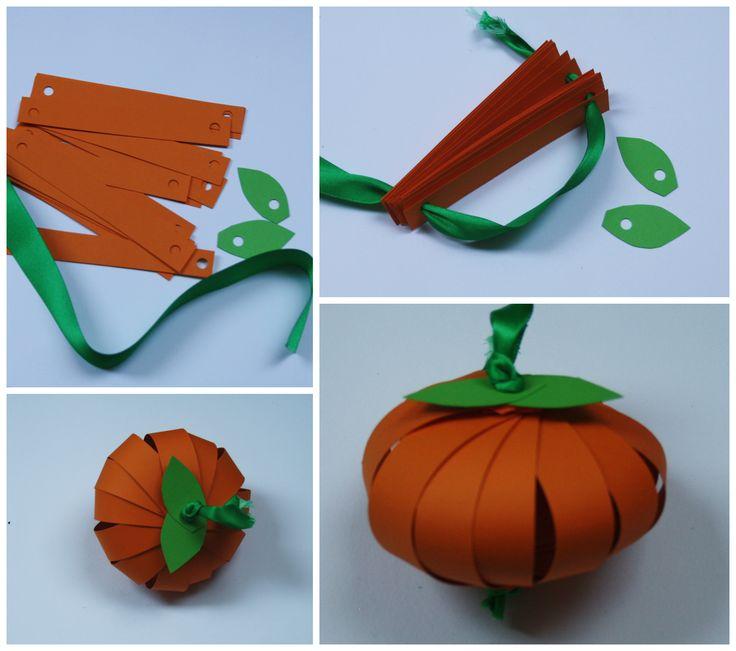 Trojrozměrná dýně z papíru. Podzimní tvoření, podzimní dekorace. Barevný papír. Autumn craft.