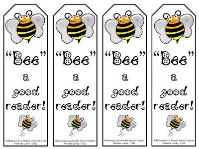 """Classroom Freebies Too: Segnalibri: """"Bee"""" un buon lettore!"""