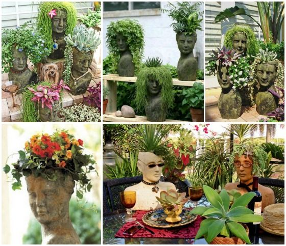 FabArtDIY Cement Head Face Planters feature