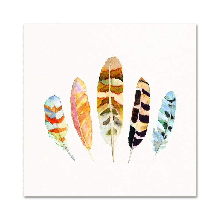Title: 5 Feathers No. 5  Archival Watercolor Print.  This is an archival quality print of my original watercolor painting.  First photo size shown is 12 x 12.  For size options click the size bar in the upper right corner of the page:  8.5 x 11 (Can be trimmed to fit an 8 x 10 frame): $24  11 x 14: $40  12 x 12: $40  16 x 20: $60  The print comes lightly signed and dated in pencil below the image, please let me know if youd prefer it unsigned.  Your print is carefully packed in a clear…