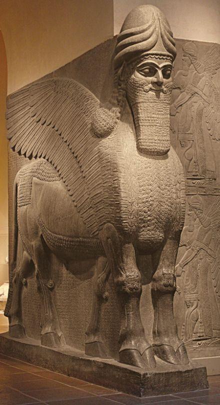 Human–headed winged lion (lamassu)   Date: 883–859 B.C. (Neo–Assyrian period, reign of Ashurnasirpal II) Location: Excavated at Nimrud (ancient Kalhu), northern Mesopotamia Medium: Alabaster (gypsum)