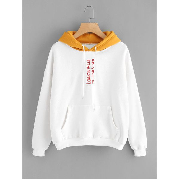 SheIn(sheinside) Contrast Hooded Embroidered Sweatshirt ($18) ❤ liked on Polyvore featuring tops, hoodies, sweatshirts, white, long sleeve tops, long sleeve sweatshirts, long sleeve hooded sweatshirt, pullover sweatshirts and white sweatshirt