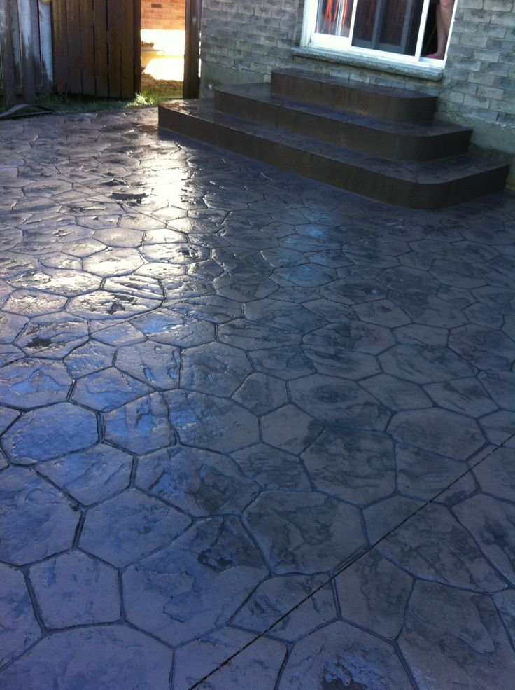 Concrete Overlay Random: Random Stone Stamped Concrete Steps (Square With Rounded