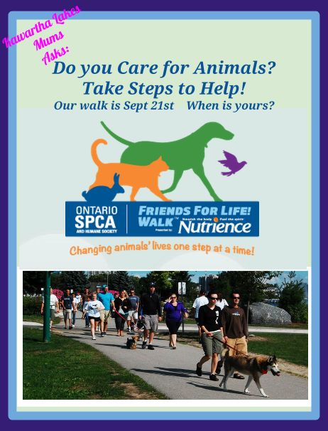 Kawartha Lakes Mums Asks Do You Care About Animals? Our Walk is Sept 21st When is Yours? Ontario SPCA Friends for Life Walk sponsored by Nutrience. and benefiting the Ontario Society for the Prevention of Cruelty to Animals, is being held at various times Saturday, September 20 and Sunday, September 21, 2014 in 17 communities across Ontario.