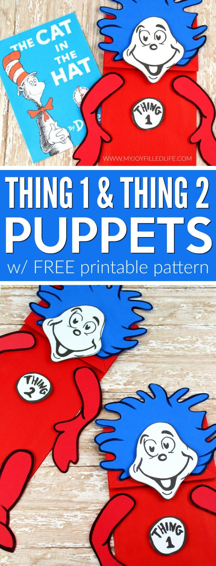 Make your next reading of The Cat and the Hat more fun and memorable with these cute Thing 1 & Thing 2 puppets!  #drseuss #kidcrafts #storytime