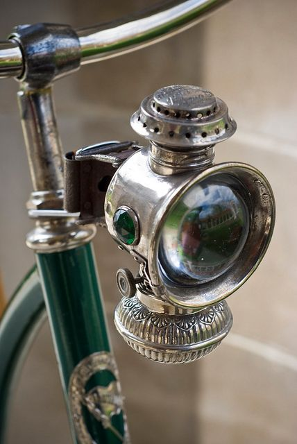 #Vintage #bicycle light! Ah, green lantern and bicycles unite Visit us @ http://www.wocycling.com/ for the best online cycling store.