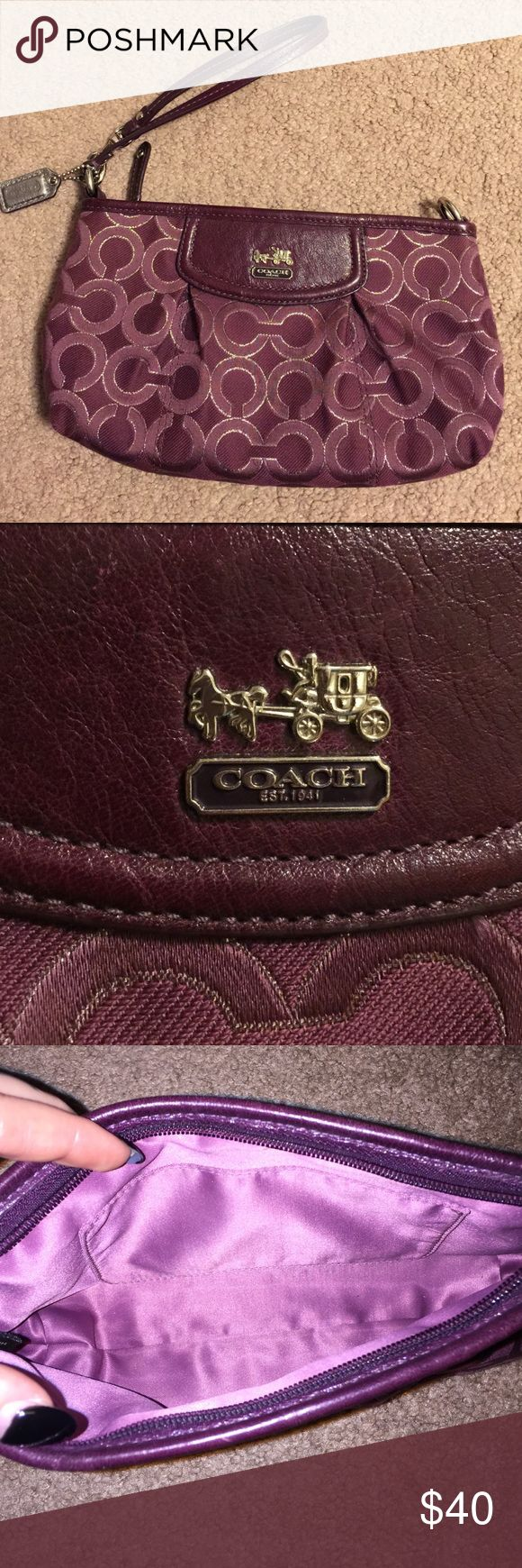 Authentic Coach clutch/wristlet Super cute and clean authentic Coach clutch/wristlet, plum purple and silver. Coach Bags Clutches & Wristlets